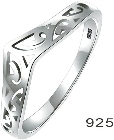 925 Sterling Silver Ring, BoRuo Filigree Thumb Chevron High Polish Comfort Fit Band Ring