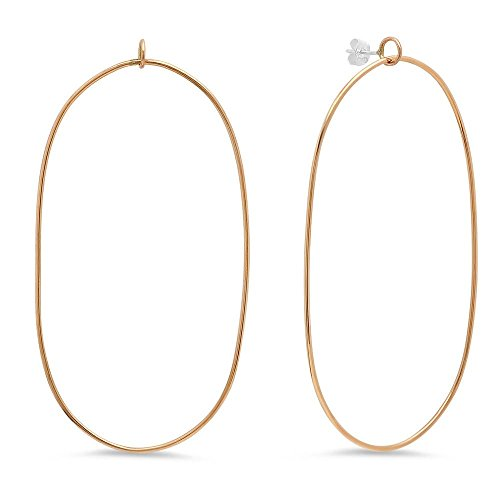 Large Baby Oval Hoops (18K Gold Plated) (18k Large Oval Gemstone)