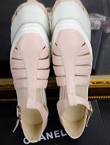 Sandales Femme Aisun Bout Semelle Rond Mode Epaise Plateforme Rose qq0Pdwrx