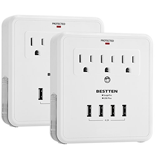 [2 Pack] BESTTEN 3 Outlet Wall Tap Adapter Surge Protector with 4 USB Charging Ports, 3 AC Outlets, and 2 Slide-Out Phone Holders, ETL Certified, White