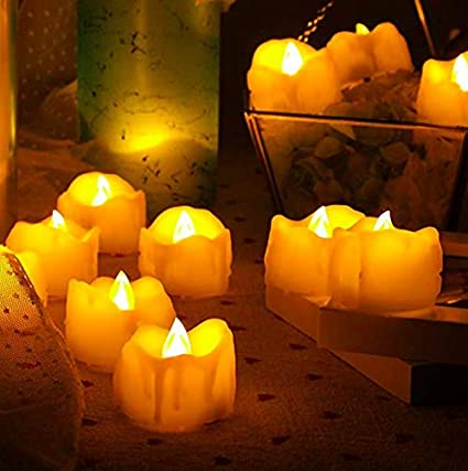 Jaipri Flickering Melted Candle Design LED Tea Lights 6 Pcs Battery Powered Candles Flameless