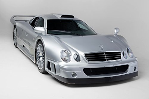 Mercedes-Benz CLK GTR AMG Strassenversion Coupe (1997-1999) Car Print on 10 Mil Archival Satin Paper Silver Front Side Static View (Clk Coupe)