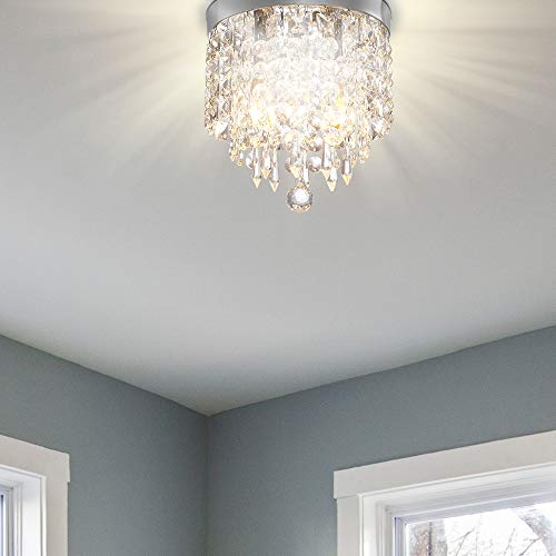 Starlight Collection Mini Chandelier, Small Chandelier with Excellent Workmanship, Easy to Install,8.7 in. 2-Light Chrome Ceiling Light with Clear Crystal for Hallway, Cloakroom