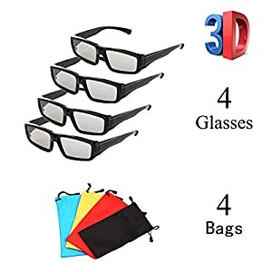 ZYZH 4 Pack Unisex Passive Polarized 3D Glasses for LG, Sony, Panasonic, Toshiba, Vizio and all Passive 3D TVs RealD 3D Cinema glasses for Watching Movies Family Pack New Circular Polarized Lenses