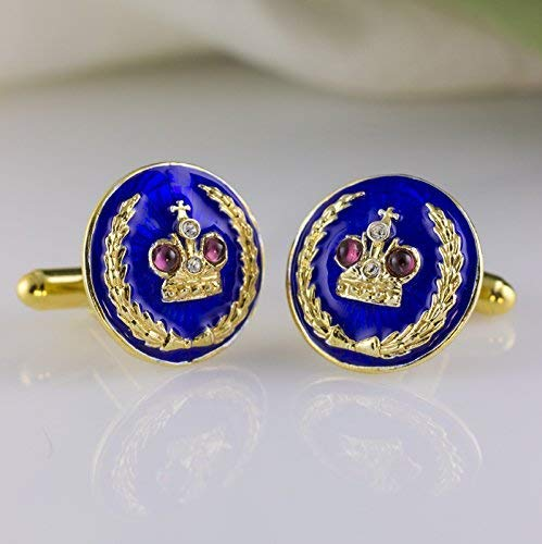 Blue Cuff-Links, Russian Cuff-Links Royal Crown with Garnets, Jewelry Gift For Men, Enamel Jewelry Sterling Silver 24K Gold Vermeil Cufflinks w Garnet and Swarovski Crystals