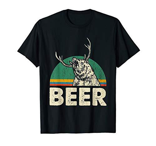 Beer Shirt Bear Mix Deer And Beer Vintage Funny T-Shirt