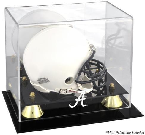 Alabama Crimson Tide Golden Classic Logo Mini Helmet Display Case - Fanatics Authentic Certified - College Mini Helmet Free Standing Display Cases