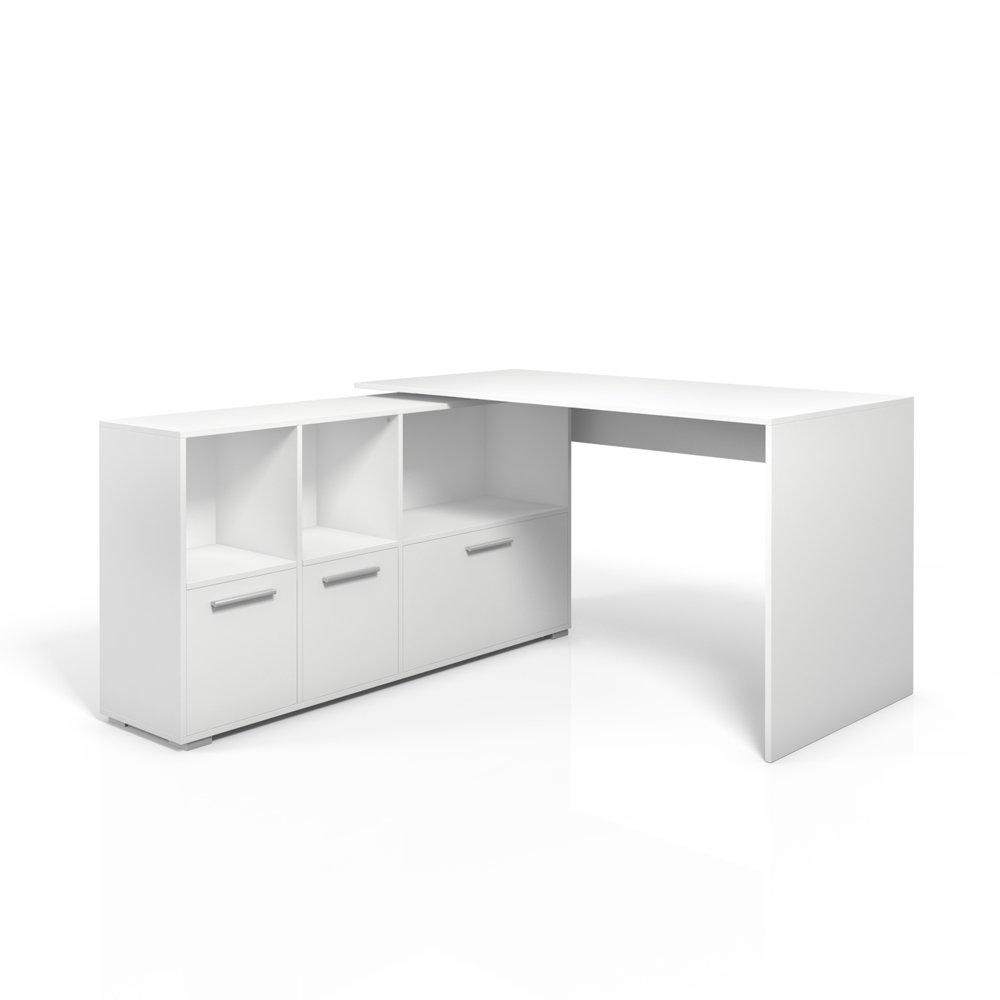 Verzauberkunst Schreibtisch Weiß Groß Beste Wahl Eckschreibtisch 136 X 75cm Weiß / Eiche