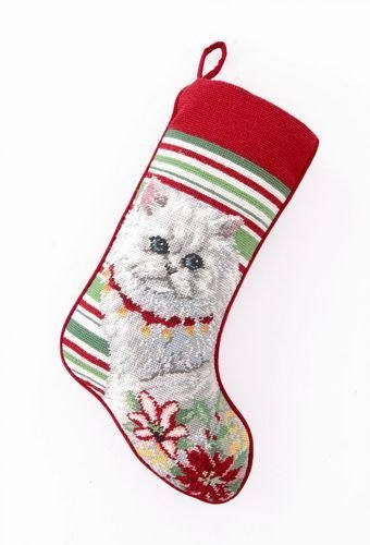 White Persian Cat / Kitten with Poinsettias Christmas Stocking, Wool Needlepoint, 11 Inch X 18 Inch