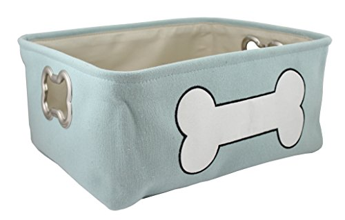 Winifred & Lily Pet Toy and Accessory Storage Bin, Organizer Storage Basket for Pet Toys, Blankets, Leashes and Food in Printed White Bone, Mint