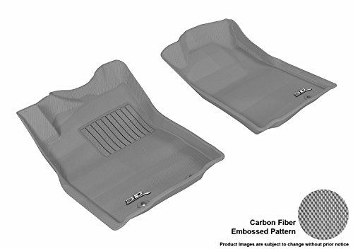 D-589) Gray Kagu Carbon Fiber Embossed Pattern Floor Mat Front Row (POST, A/T ONLY) for TOYOTA TACOMA REG/ACS CAB 12-15 ()