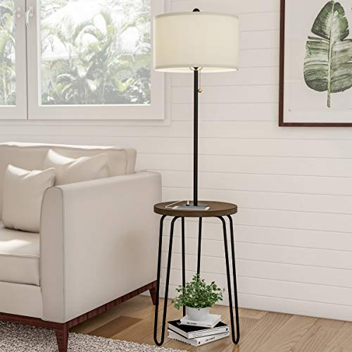 Lavish Home 72-LMPWT-4 Floor Lamp End Mid Century Modern Style Side Table, Hairpin Legs, Drum Shape Shade, LED Light Bulb Included & USB Charging Port, ()