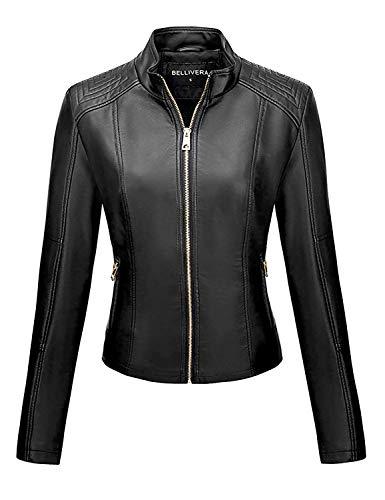 Bellivera Women's PU Leather Jacket(3 Colors), Biker Jacket with Zip Pockets, Vintage Short Coat for Autumn, Spring