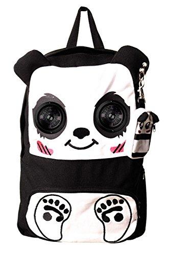 Verboten Damen Panda iPod Lautsprecher Rucksack (schwarz–weiß)