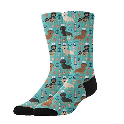 Jinkela Womens Thigh High Cotton Socks Dachshund Sailors Nautical Dog Pattern Tube Stockings Above Knee Cosplay Socks ()