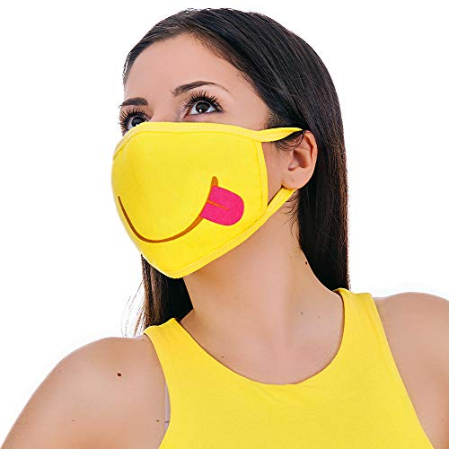 MOJIGEAR Tongue Out Premium Cotton Cloth Face Mask - Reusable and Machine Washable with Pollution Filter - Unisex for Teens Men Women - Yellow