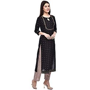 GULMOHAR JAIPUR Women's Cotton Printed Kurta Pant Set (Black)