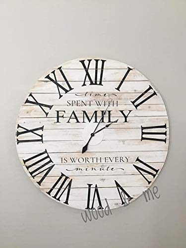 Large Farmhouse 24 inch Wall Clock, Magnolia Inspired Roman Numeral Clock, Reclaimed Wood Clock, Time Spent with Family Quote ()