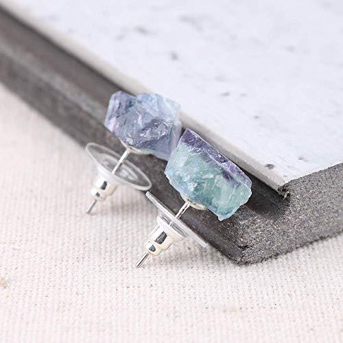 Raw Natural Rainbow Fluorite Gemstone Stud Earrings