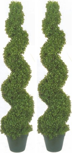 Two 4 Foot 2 Inch Artificial Boxwood Spiral Topiary Trees Potted Indoor or Outdoor by Silk Tree Warehouse
