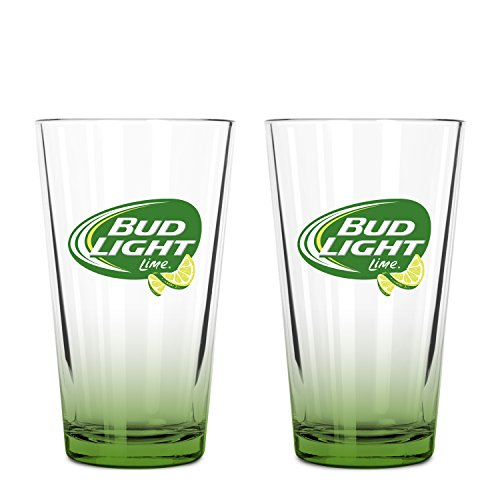Bud Light Lime 2-Pack Pint Glass Set, 16oz - Lime Cider