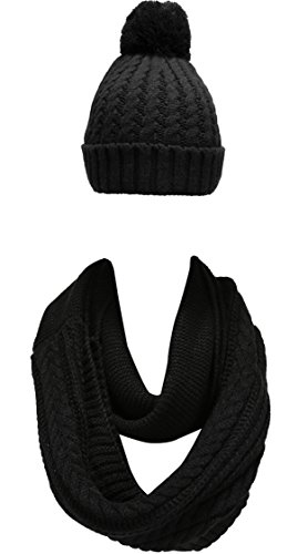 NEOSAN Women Winter Thick Knit Infinity Loop Scarf And Pom Pom Hat Set Crochet Black