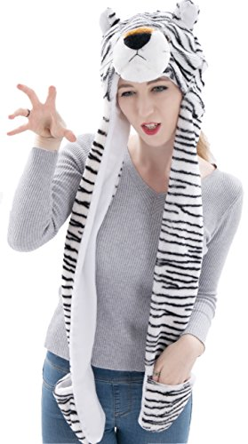 Funnie Varied Animal Hats Gloves Scarf 3 In 1 Set -Costume Hood Toy(White Tiger)