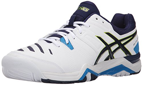 ASICS Men's GEL-Challenger 10 Tennis Shoe, White/Lime/Indigo Blue, 11 M US