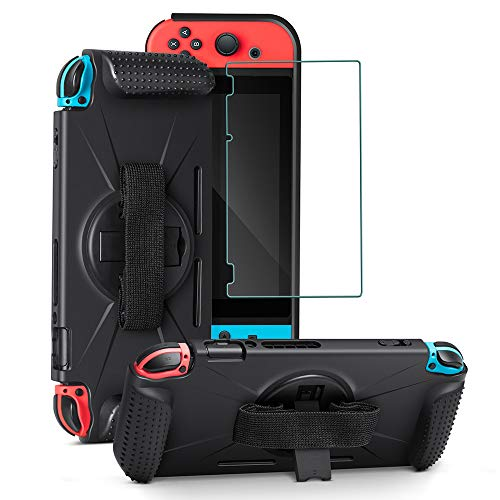 CLDYR Protective Case and a Tempered Glass Screen Protector Compatible with Nintendo Switch,Carrying Portable Cover,Handheld Back Cover for Nintendo Switch,Soft TPU Cover Case with Stand Black(2 in 1)