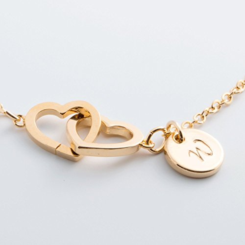 Personalized Elegant Initial Double Hearts Necklace / 16k Gold Rose Gold White Gold Plated/ Christmas Bridesmaids (Rose Gold Turquoise Earrings)