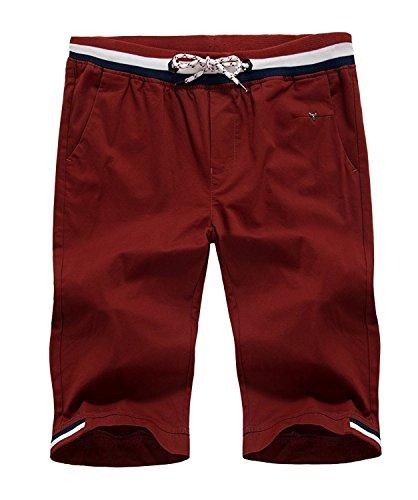 Mintsnow Men Linen Casual Classic Fit Flat Front Beach short cotton Wine Red 36 Classic Cotton Shorts