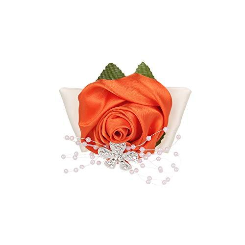 July-Seven-Wrist Corsage,Wedding Wrist Flower Rose Silk Ribbon Bride Corsage Hand Decorative Wriband Bracelet Bridesmaid Curtain Band Clip Bouquet,Orange