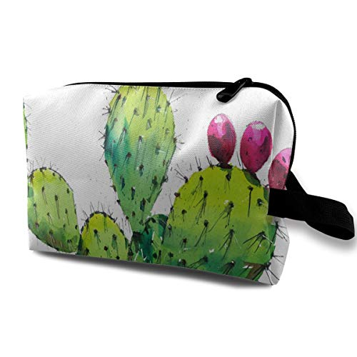 Eel Skin Clutch - Makeup Bag Prickly Pear Cactus Watercolor Portable Travel Multifunction Clutch Pouch Bags Designer Case For Women