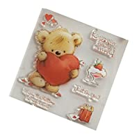 Haayward Bear Heart DIY Silicone Clear Stamp Cling Seal Scrapbook Embossing Album Decor