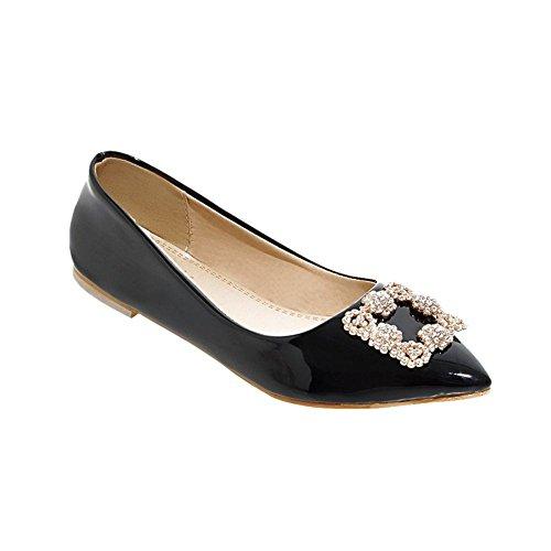 Mee Shoes Damen modern bequem populär Lackleder spitz Geschlossen mit Strass Niedrig Pumps Schwarz