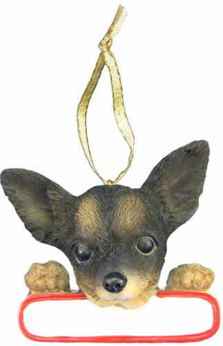 E&S Pets Chihuahua Ornament Tri Color Santa's Pals With Personalized Name Plate A Great Gift For Chihuahua Lovers
