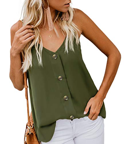 Fancyskin Women's Casual Button Down V Neck Cami Tank Tops Sleeveless Blouses,Army Green,Small