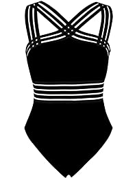 Women's One Piece Swimwear Front Crossover Swimsuits Hollow Bathing Suits Monokinis