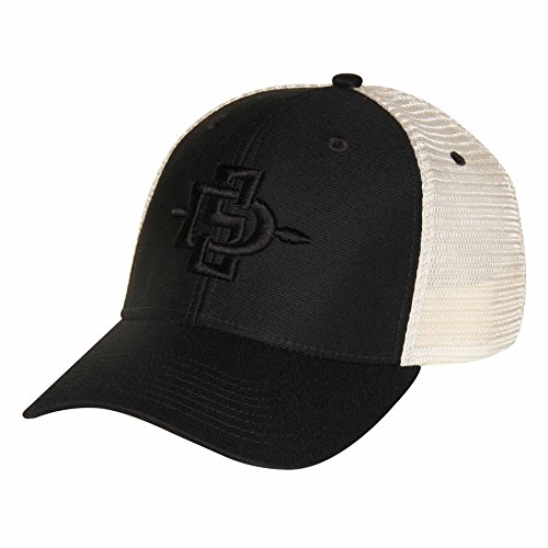 NCAA San Diego State Aztecs Soft Mesh Sideline Cap, Adjustable Size, Black/Natural