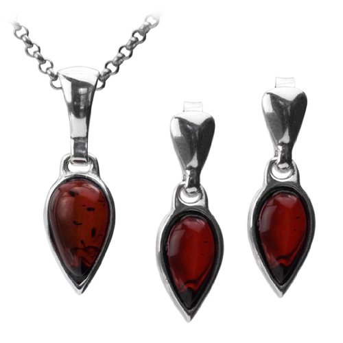 Sterling Silver Red Dark Amber Pendant Chain 18 Inches