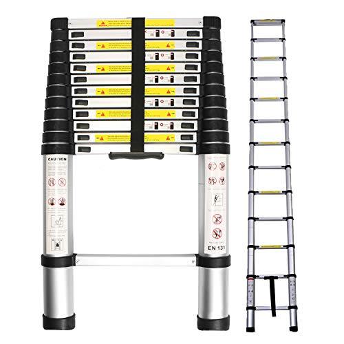 12.5FT Telescoping Ladder, Aluminum Telescopic Extension Tall Multi Purpose Loft Ladder, 330 Pound / 150 kg Black ()