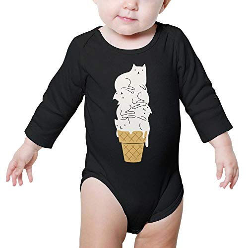 (National Ice Cream Day Cat Baby Onesies Black Clothes Bodysuits Long Sleeve)