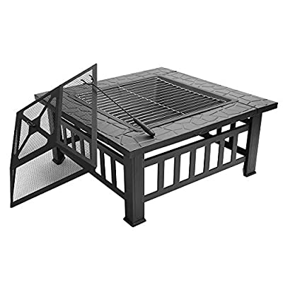 "FCH 32"" Outdoor Square Fire Pit with BBQ Rack, Rain Cover, Spark Screen Top and Poker Metal Firepit for Outside Backyard Patio Garden Terrace"
