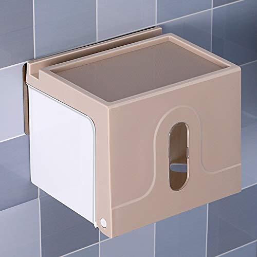 Joeesun Baño creativo toalla de papel caja de almacenamiento hogar impermeable papel higiénico caja de papel montado en la pared portaherramientas inodoro sin cargo caqui B128 pequeño
