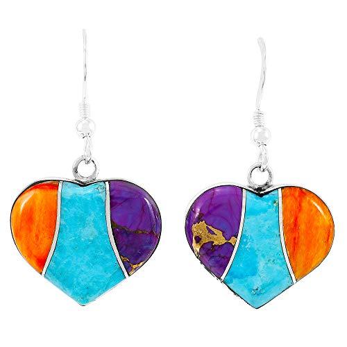 Turquoise Hearts Earrings 925 Sterling Silver & Genuine Gemstones (Multi) ()
