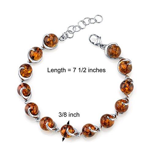 Revoni bague en argent sterling spirale bracelet ambre de la baltique cognac kugelschliff rond