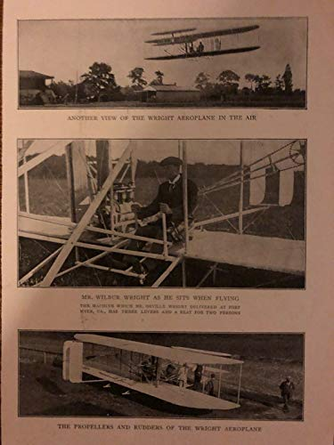 1908 Vintage Magazine Print Wilbur Wright Flying Wright Brothers Aeroplane ()
