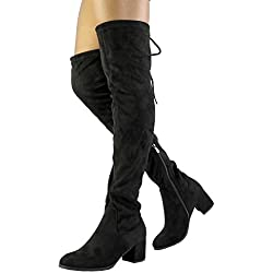 DREAM PAIRS Women's Laurence Black Over The Knee Thigh High Chunky Heel Boots Size 8 M US