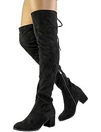 Women's Over The Knee Thigh High Low Block Heel Boots