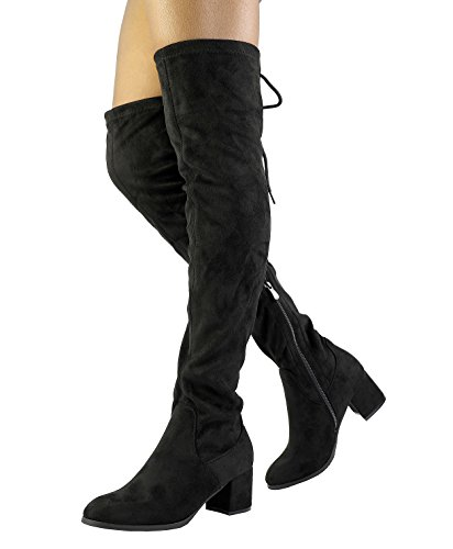 DREAM PAIRS Women's Laurence Black Over The Knee Thigh High Chunky Heel Boots Size 9 M US